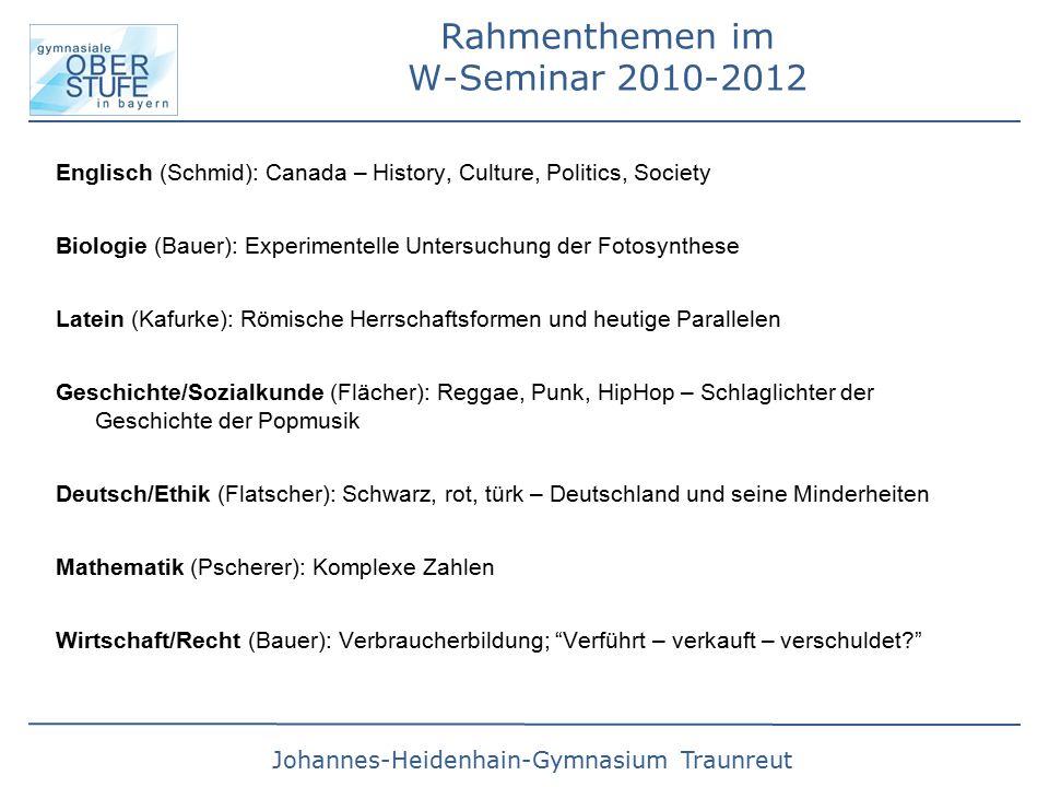 Rahmenthemen im W-Seminar 2010-2012