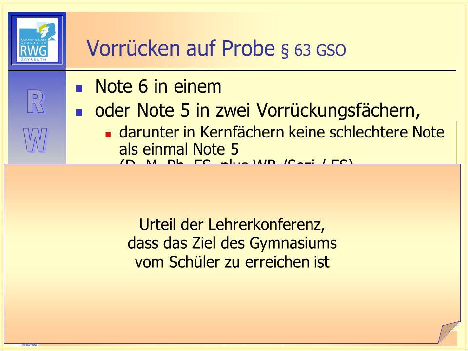 Vorrücken auf Probe § 63 GSO