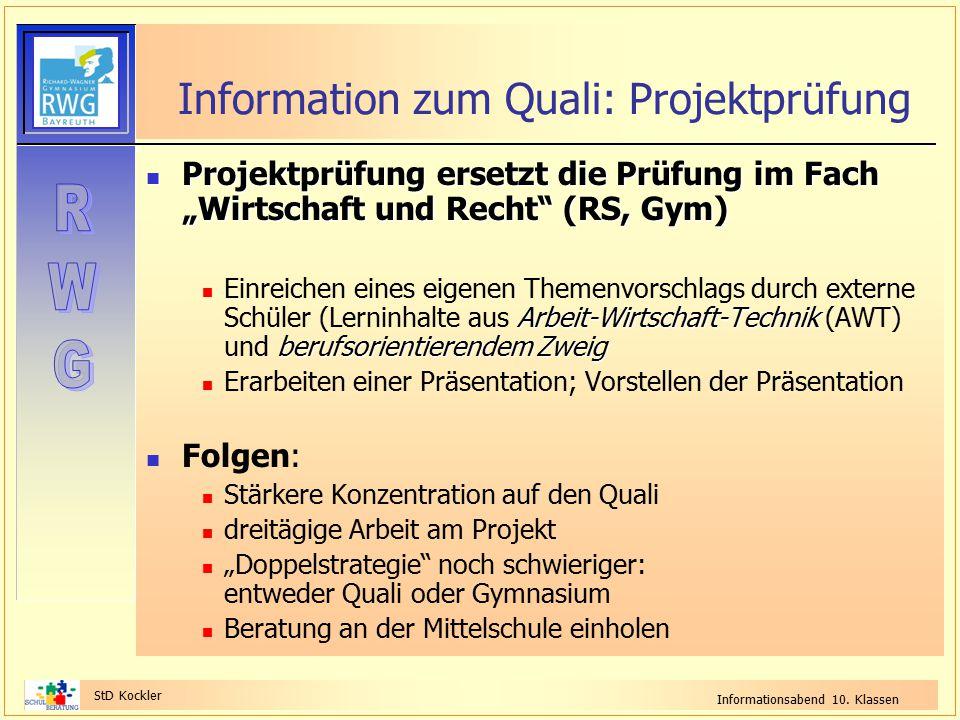Information zum Quali: Projektprüfung