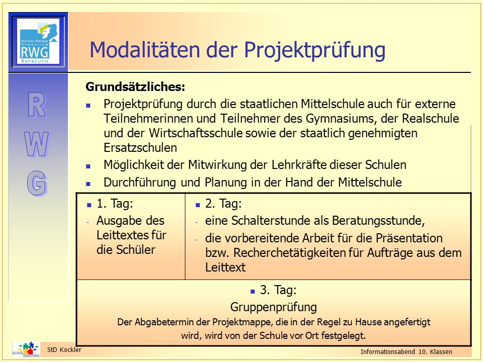 Modalitäten der Projektprüfung