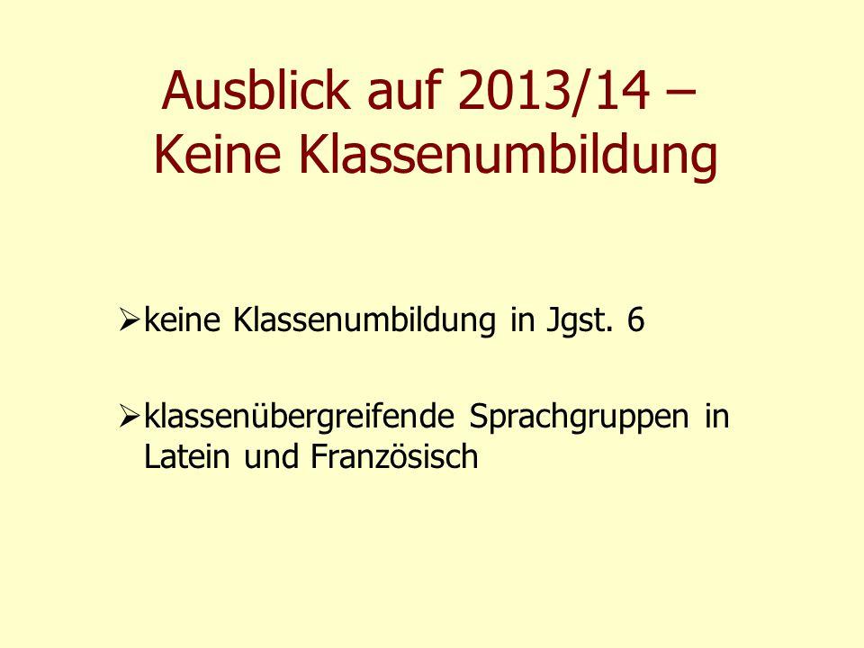Ausblick auf 2013/14 – Keine Klassenumbildung