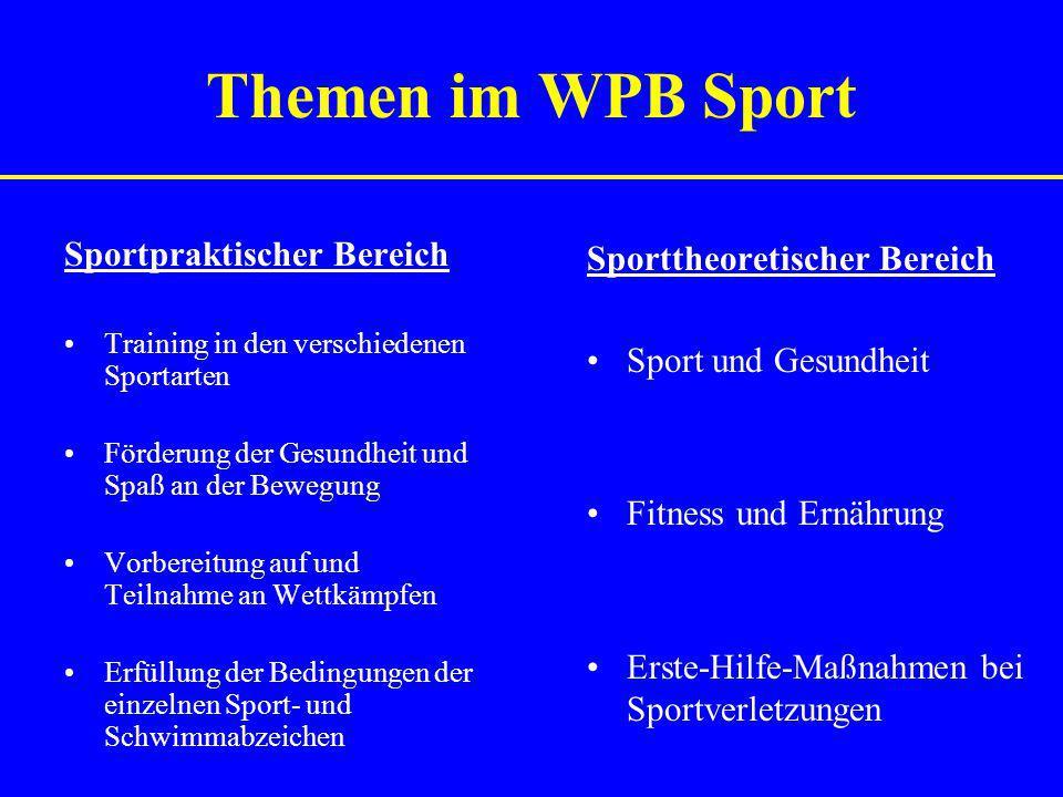 Themen im WPB Sport Sportpraktischer Bereich