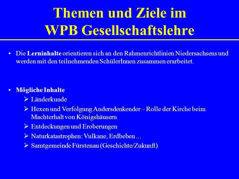 Themen und Ziele im WPB Gesellschaftslehre