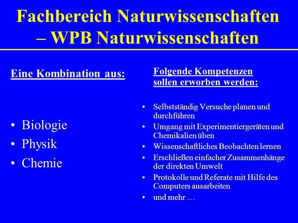 Fachbereich Naturwissenschaften – WPB Naturwissenschaften