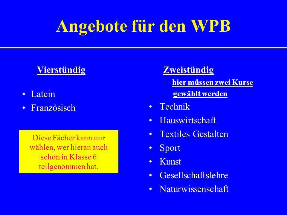 Angebote für den WPB Vierstündig Latein Französisch Zweistündig