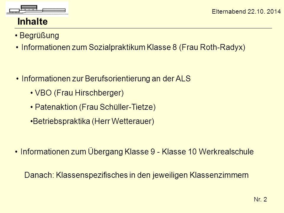 Elternabend 22.10. 2014 Inhalte. Begrüßung. Informationen zum Sozialpraktikum Klasse 8 (Frau Roth-Radyx)