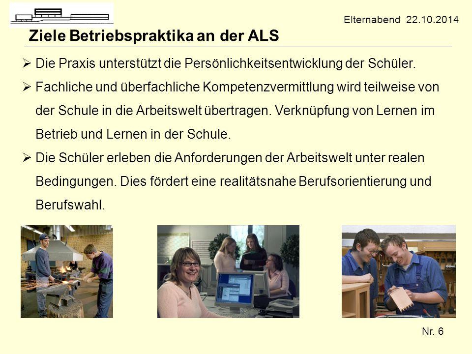 Ziele Betriebspraktika an der ALS