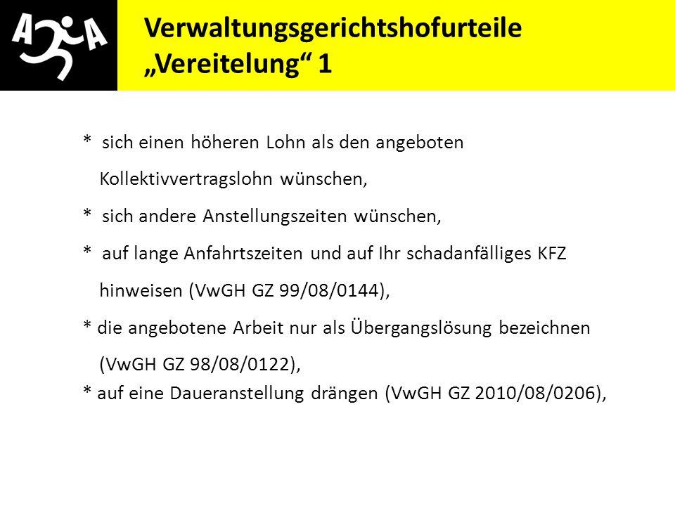 """Verwaltungsgerichtshofurteile """"Vereitelung 1"""