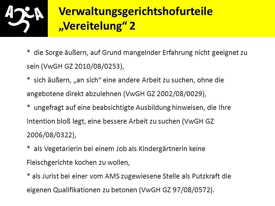"""Verwaltungsgerichtshofurteile """"Vereitelung 2"""