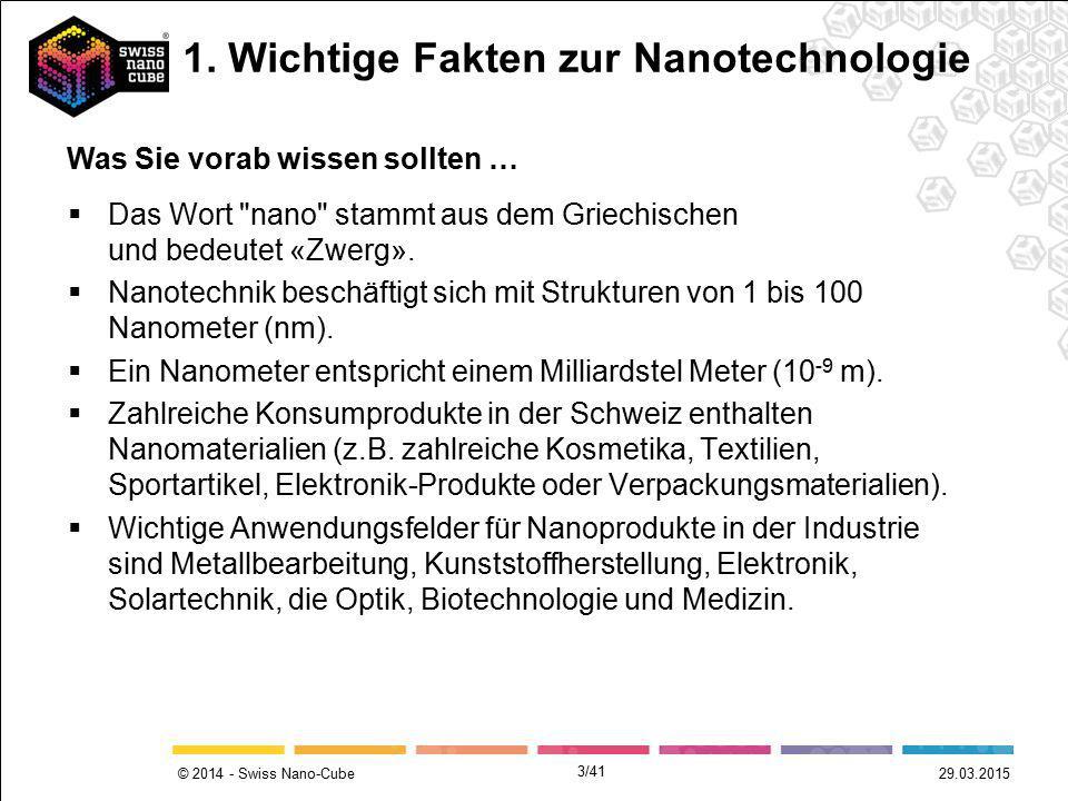 1. Wichtige Fakten zur Nanotechnologie