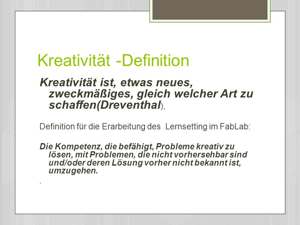 Kreativität -Definition