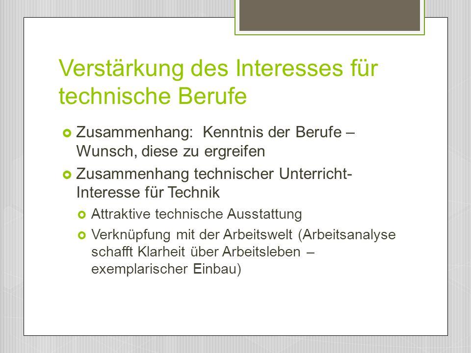 Verstärkung des Interesses für technische Berufe