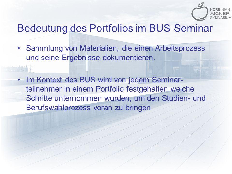 Bedeutung des Portfolios im BUS-Seminar