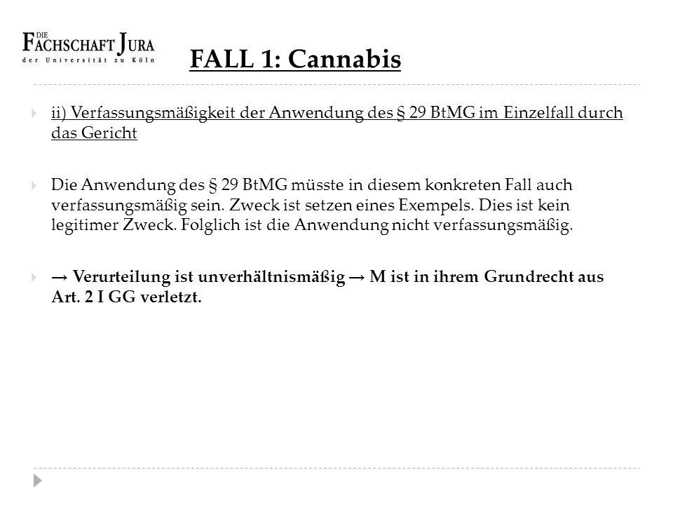 FALL 1: Cannabis ii) Verfassungsmäßigkeit der Anwendung des § 29 BtMG im Einzelfall durch das Gericht.