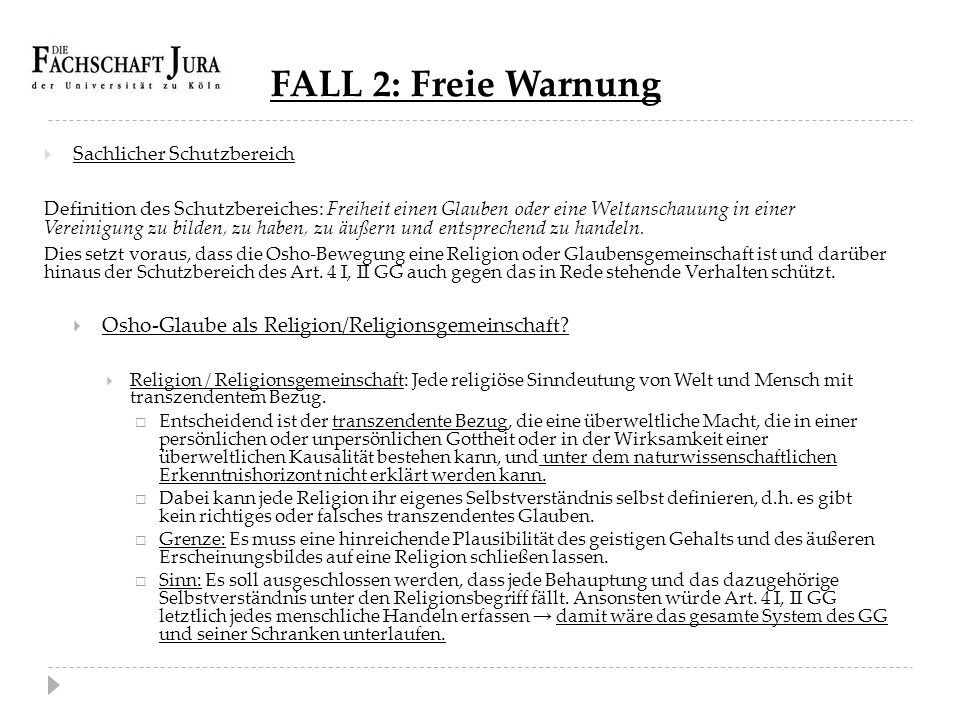 FALL 2: Freie Warnung Osho-Glaube als Religion/Religionsgemeinschaft