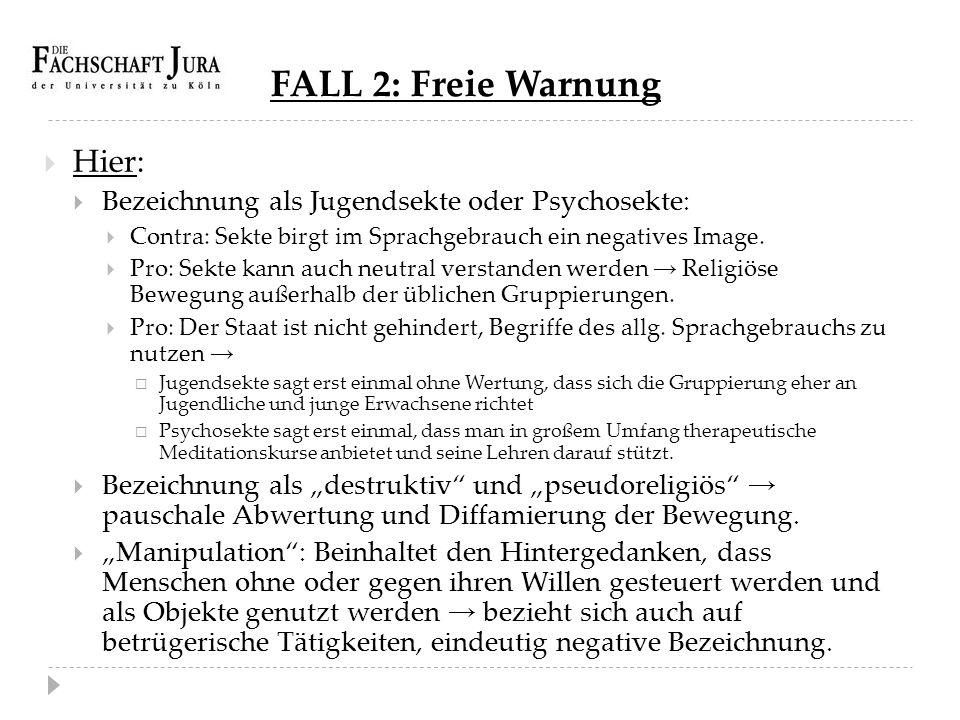 FALL 2: Freie Warnung Hier: