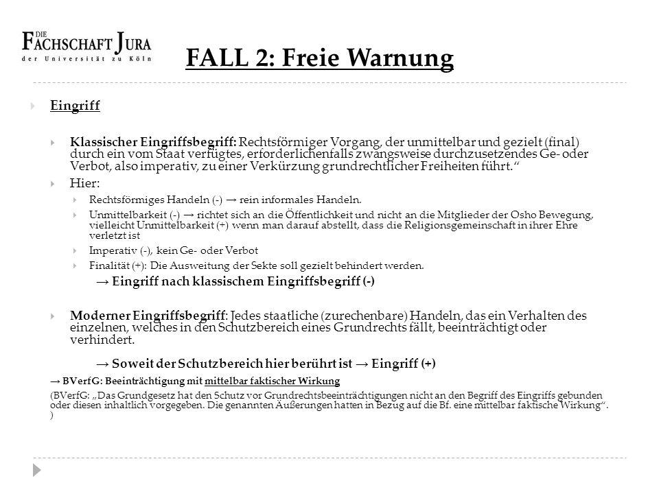 FALL 2: Freie Warnung Eingriff
