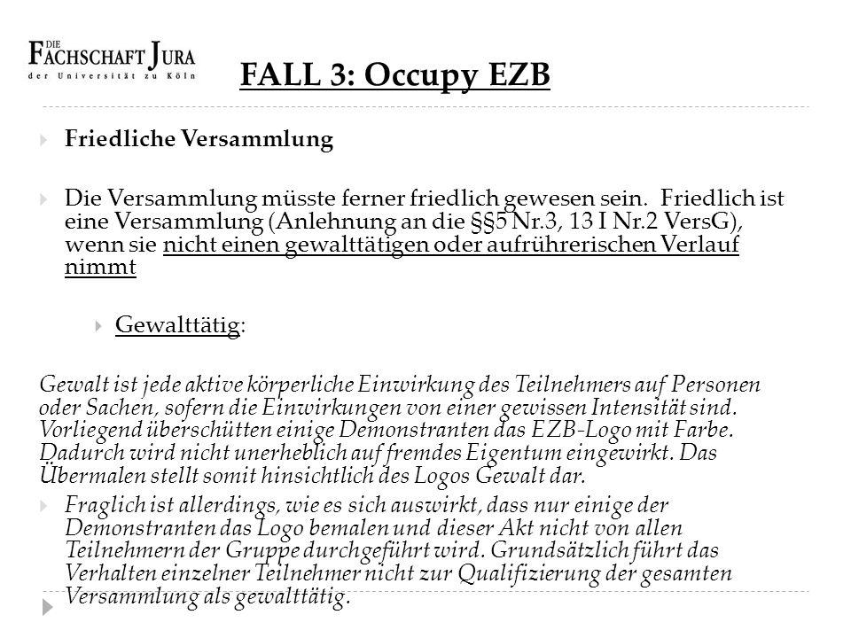 FALL 3: Occupy EZB Friedliche Versammlung