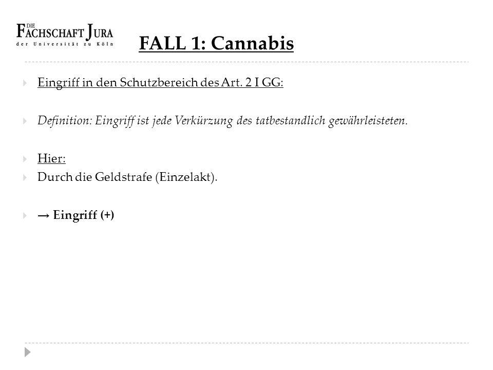 FALL 1: Cannabis Eingriff in den Schutzbereich des Art. 2 I GG: