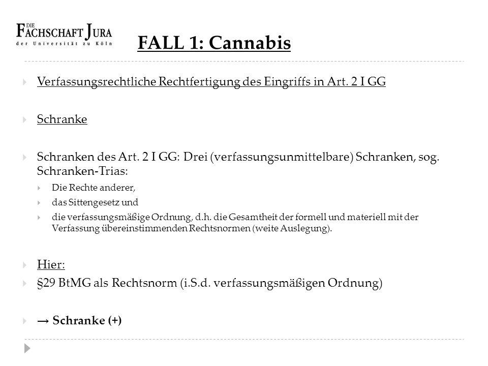 FALL 1: Cannabis Verfassungsrechtliche Rechtfertigung des Eingriffs in Art. 2 I GG. Schranke.