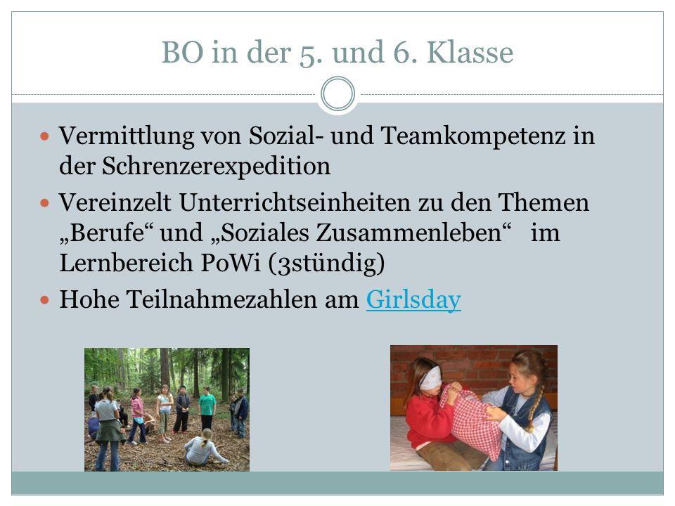 BO in der 5. und 6. Klasse Vermittlung von Sozial- und Teamkompetenz in der Schrenzerexpedition.