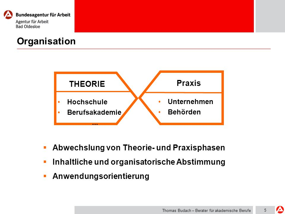 Organisation THEORIE Praxis Abwechslung von Theorie- und Praxisphasen