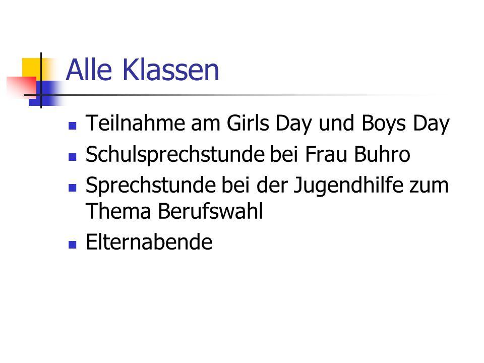 Alle Klassen Teilnahme am Girls Day und Boys Day