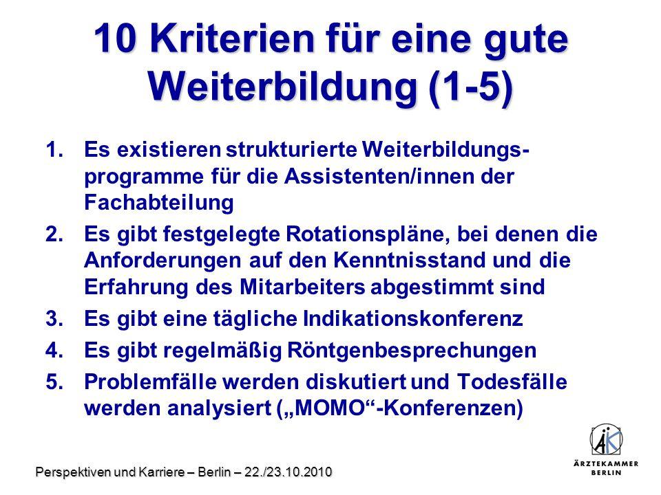 10 Kriterien für eine gute Weiterbildung (1-5)