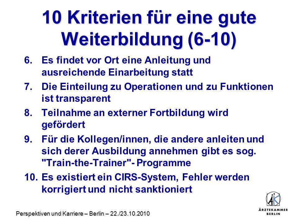 10 Kriterien für eine gute Weiterbildung (6-10)