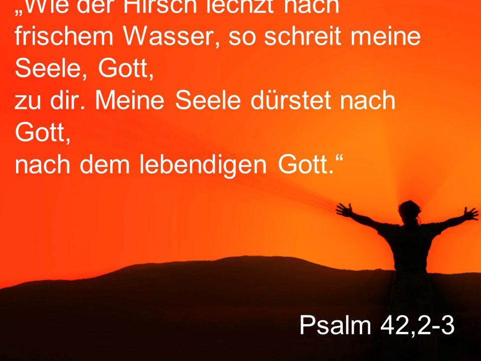 """""""Wie der Hirsch lechzt nach frischem Wasser, so schreit meine Seele, Gott, zu dir. Meine Seele dürstet nach Gott, nach dem lebendigen Gott."""