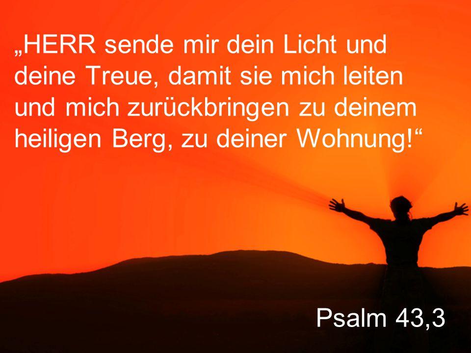 """""""HERR sende mir dein Licht und deine Treue, damit sie mich leiten und mich zurückbringen zu deinem heiligen Berg, zu deiner Wohnung!"""