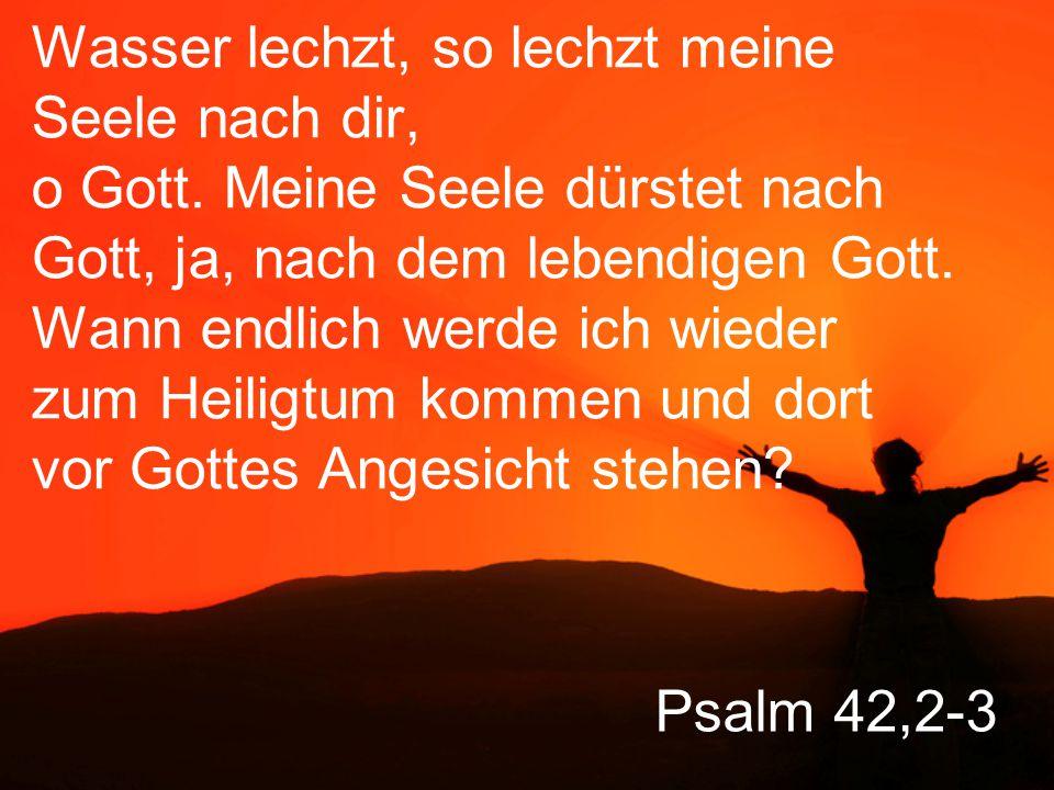 Wie der Hirsch nach frischem Wasser lechzt, so lechzt meine Seele nach dir, o Gott. Meine Seele dürstet nach Gott, ja, nach dem lebendigen Gott. Wann endlich werde ich wieder zum Heiligtum kommen und dort vor Gottes Angesicht stehen