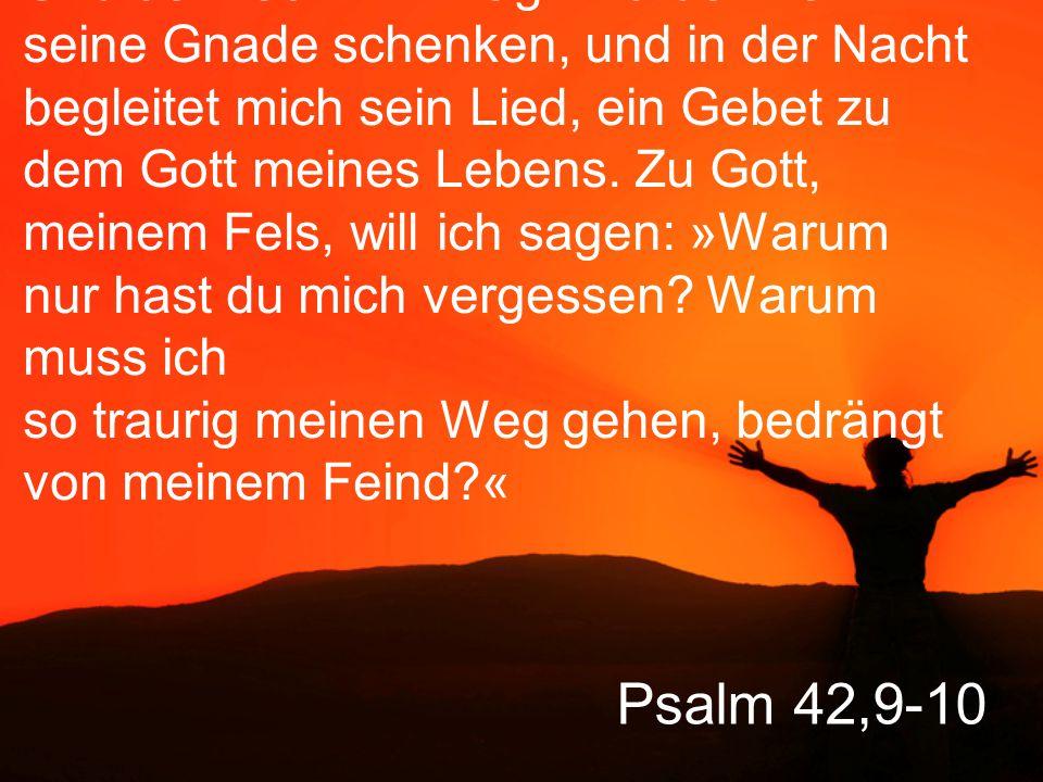 Und dennoch: Am Tag wird der Herr mir seine Gnade schenken, und in der Nacht begleitet mich sein Lied, ein Gebet zu dem Gott meines Lebens. Zu Gott, meinem Fels, will ich sagen: »Warum nur hast du mich vergessen Warum muss ich so traurig meinen Weg gehen, bedrängt von meinem Feind «