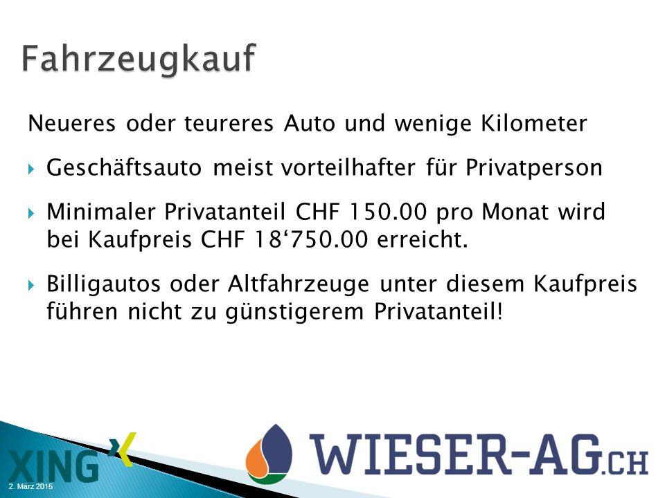 Fahrzeugkauf Neueres oder teureres Auto und wenige Kilometer