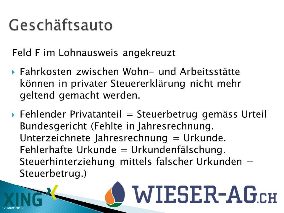 Geschäftsauto Feld F im Lohnausweis angekreuzt