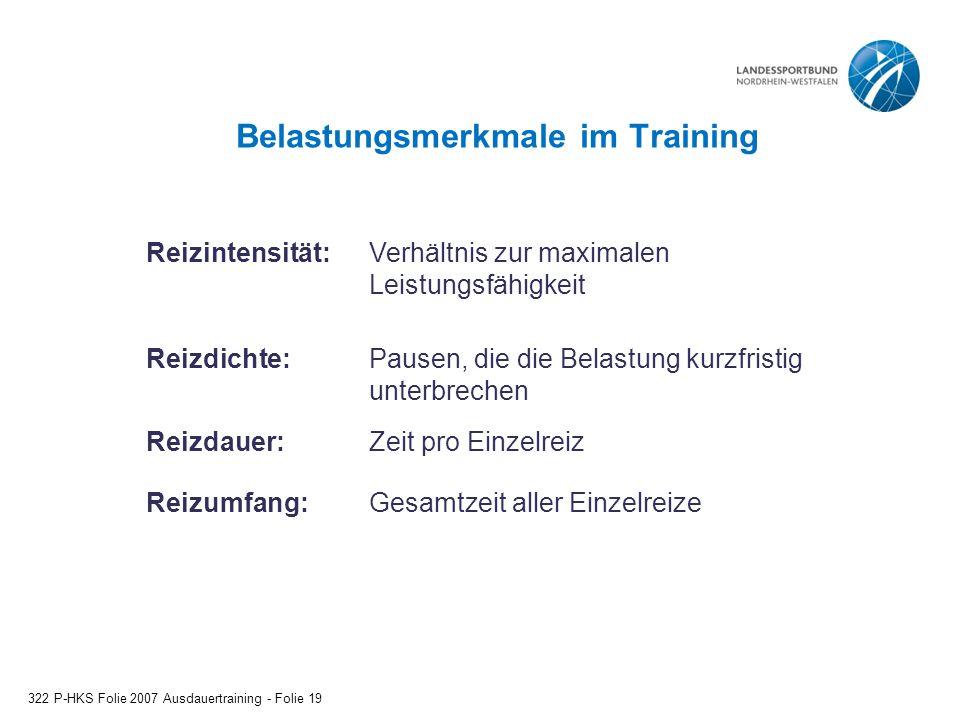 Belastungsmerkmale im Training