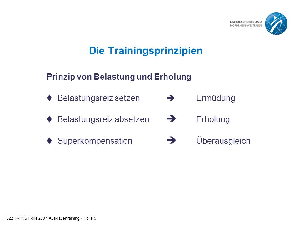Die Trainingsprinzipien