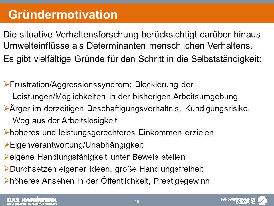 Gründermotivation Die situative Verhaltensforschung berücksichtigt darüber hinaus Umwelteinflüsse als Determinanten menschlichen Verhaltens.