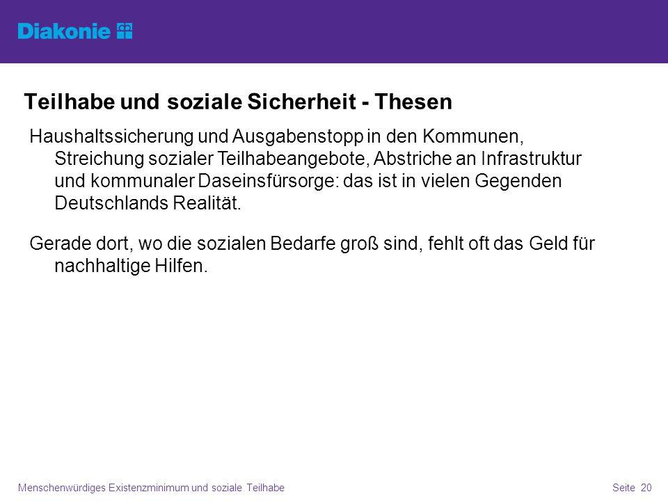 Teilhabe und soziale Sicherheit - Thesen