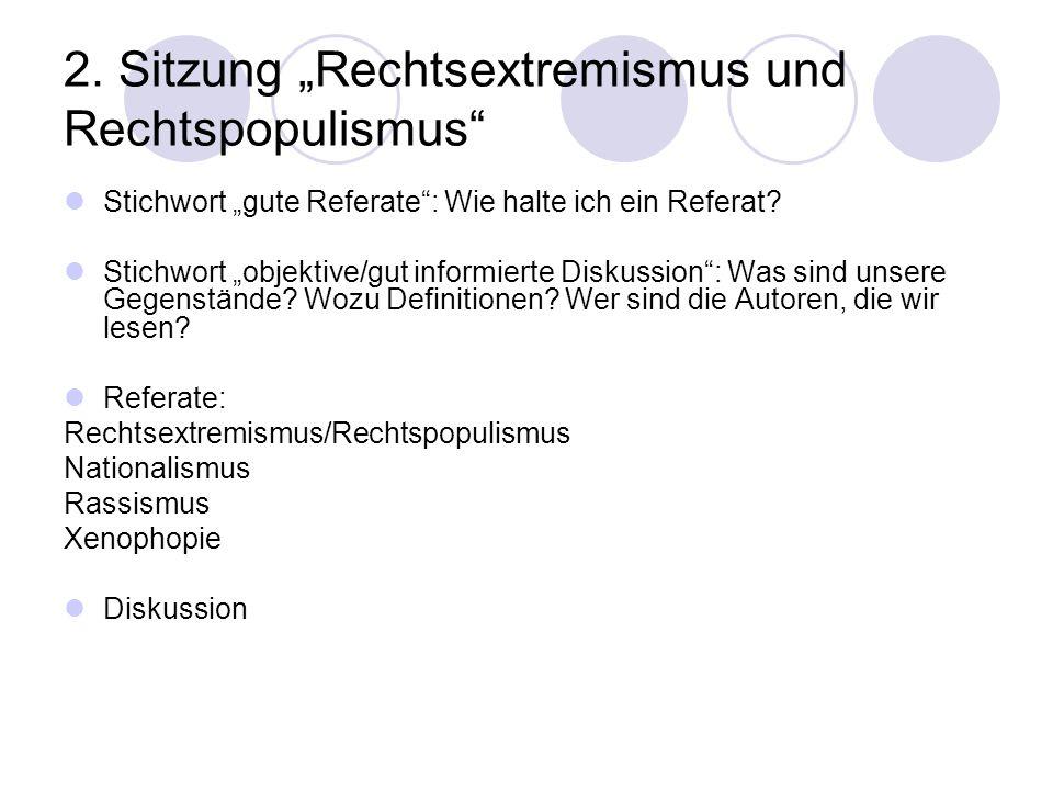 """2. Sitzung """"Rechtsextremismus und Rechtspopulismus"""