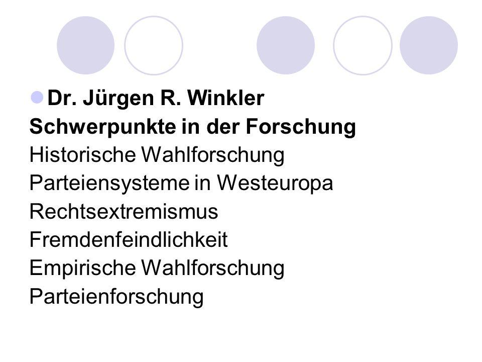 Dr. Jürgen R. Winkler Schwerpunkte in der Forschung. Historische Wahlforschung. Parteiensysteme in Westeuropa.