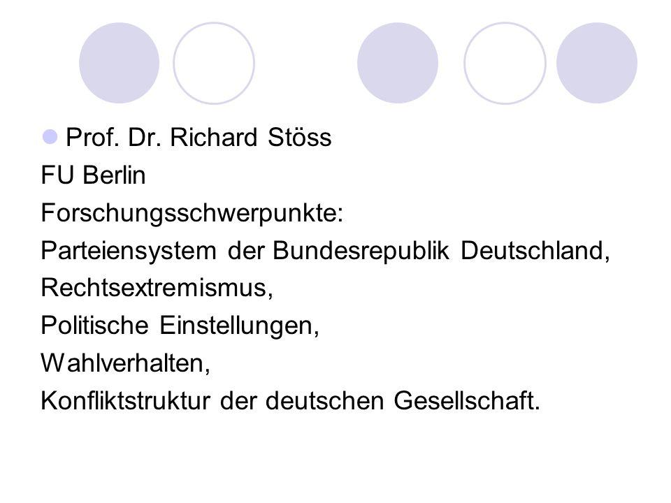 Prof. Dr. Richard Stöss FU Berlin Forschungsschwerpunkte: Parteiensystem der Bundesrepublik Deutschland,