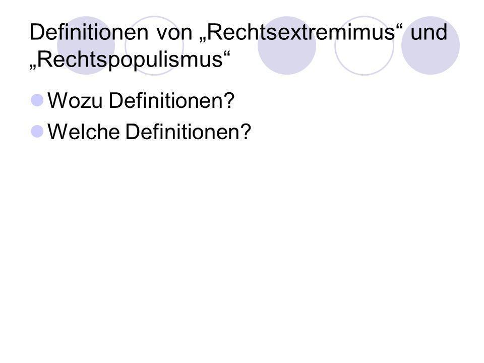 """Definitionen von """"Rechtsextremimus und """"Rechtspopulismus"""
