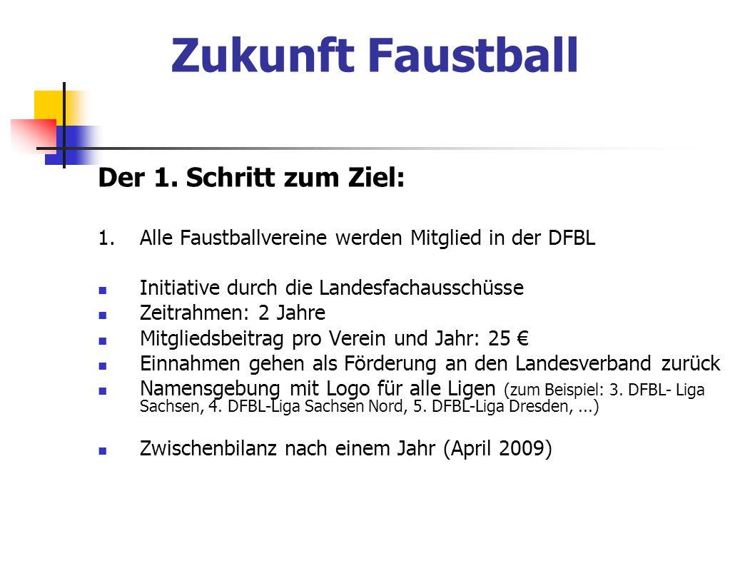 Zukunft Faustball Der 1. Schritt zum Ziel: