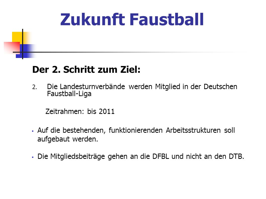Zukunft Faustball Der 2. Schritt zum Ziel: Zeitrahmen: bis 2011