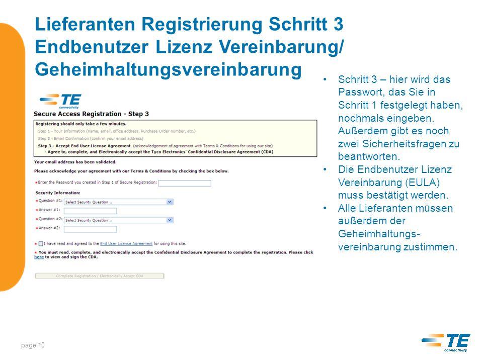 Lieferanten Registrierung Schritt 3 Endbenutzer Lizenz Vereinbarung/