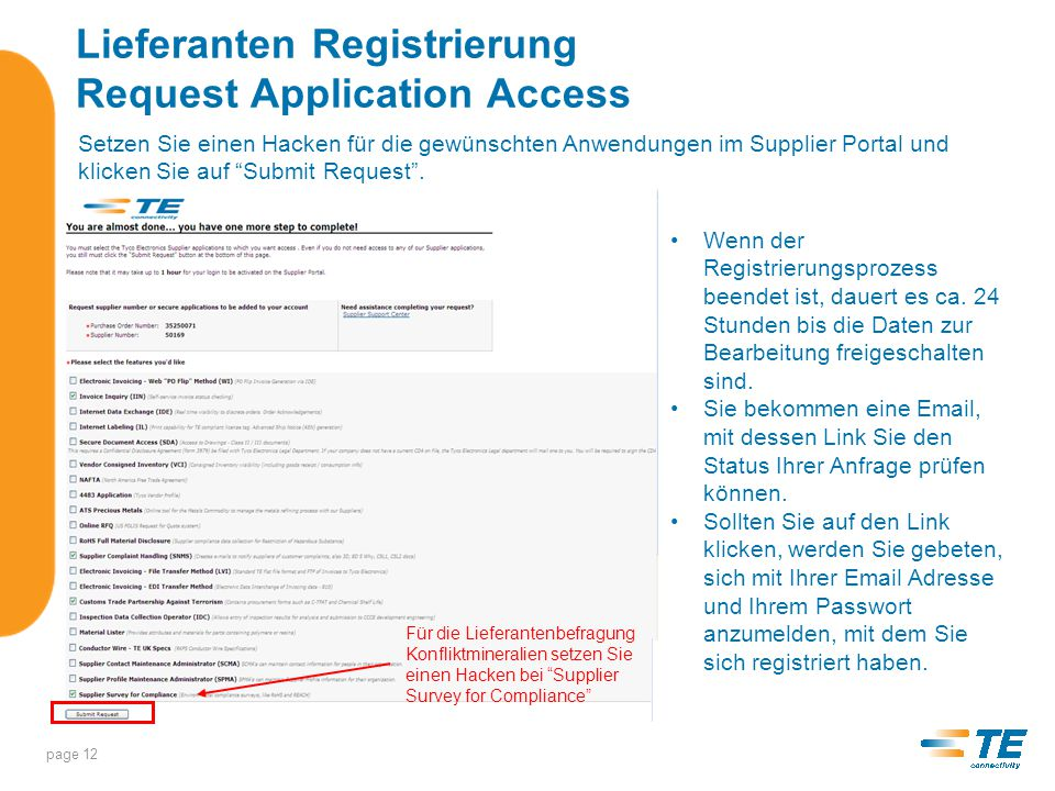 Lieferanten Registrierung Request Application Access
