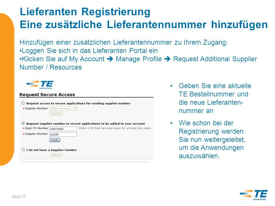 Lieferanten Registrierung Eine zusätzliche Lieferantennummer hinzufügen