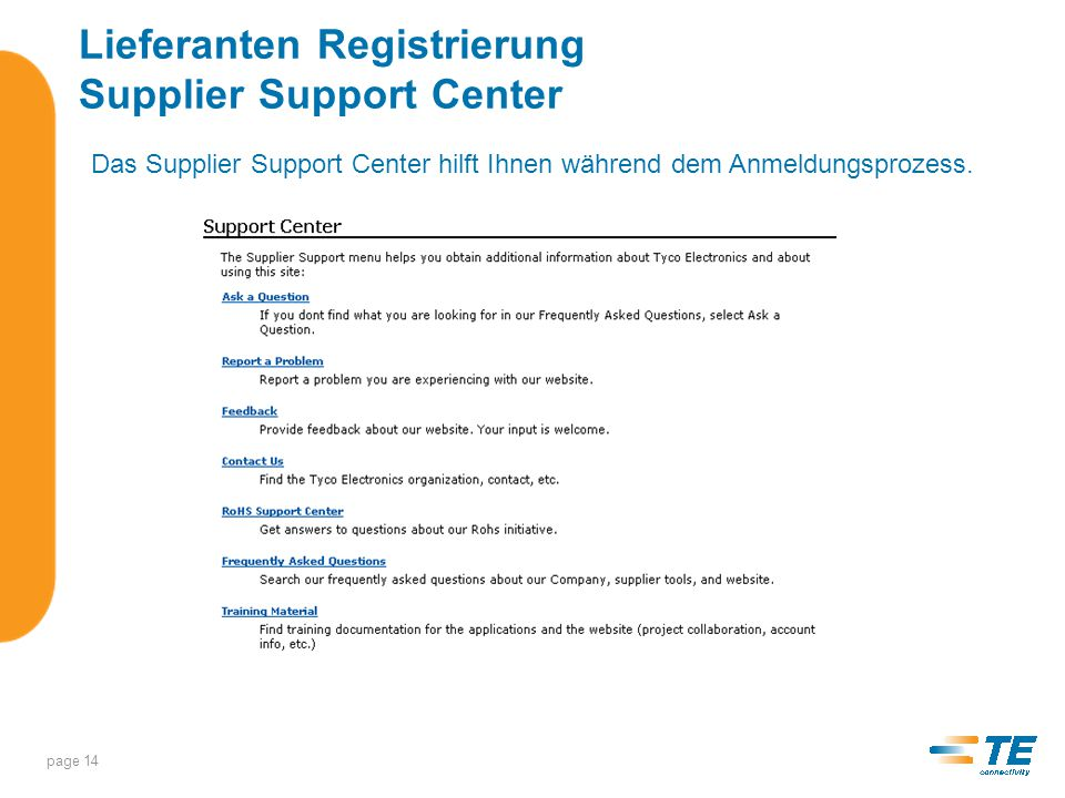 Lieferanten Registrierung Supplier Support Center