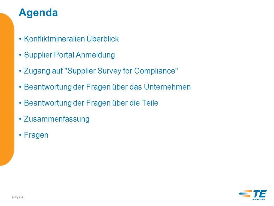 Agenda Konfliktmineralien Überblick Supplier Portal Anmeldung